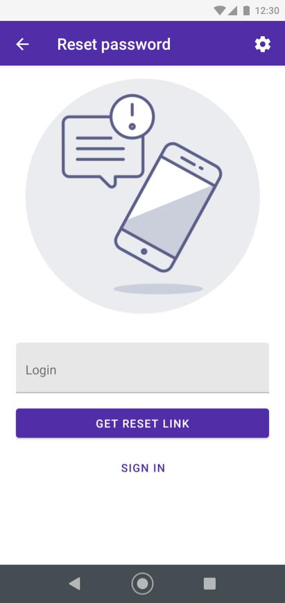 Ekran odzyskiwania hasła w aplikacji mobilnej Urban