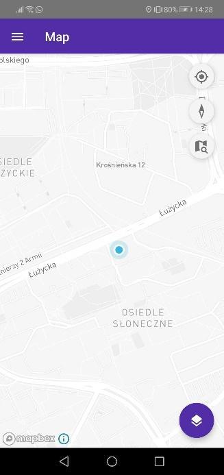 Pozycja w oknie głównym widoku mapy w aplikacji mobilnej Urban